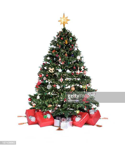 Adorned Christmas Tree with Ornaments and Presents on White, Copyspace