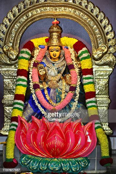 Adorned idol of Goddess Lakshmi at a Tamil Hindu temple during celebrations for Puthandu in Ontario, Canada, April 14, 2019.
