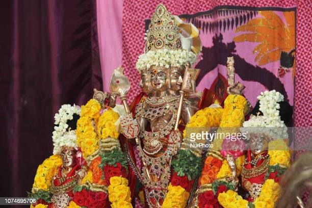 Adorned idol of Lord Murugan during the Murugan Ther Festival at a Tamil Hindu temple in Ontario Canada This festival is part of the 15 day long...