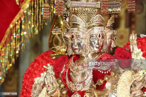 Adorned idol of Lord Murugan during the Sooran Por Festival at a Tamil Hindu temple in Ontario Canada on November 13 2018 Sooran Por is the...