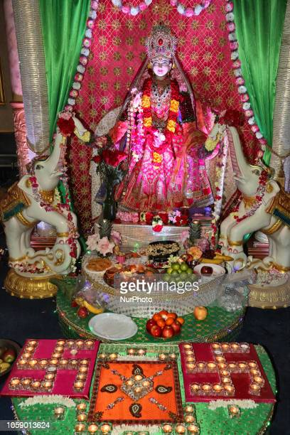 Adorned idol of the Goddess Lakshmi during the festival of Diwali at a Hindu temple in Toronto Ontario Canada on November 7 2018 Lakshmi is the Hindu...