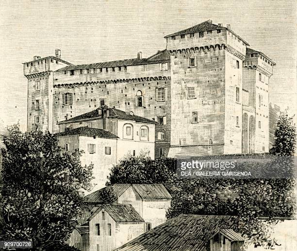 Adorno castle Silvano d'Orba Piedmont Italy woodcut from Le cento citta d'Italia illustrated monthly Supplement of Il Secolo Milan May 31 year 34