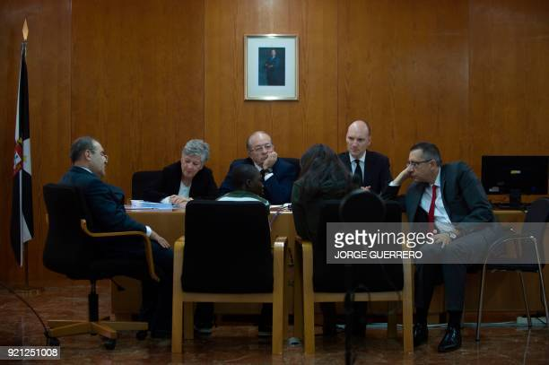 Adou Quitara sits in court during his father trial in Ceuta a Spanish overseas territory in northern Morocco on February 20 2018 Prosecutors are...