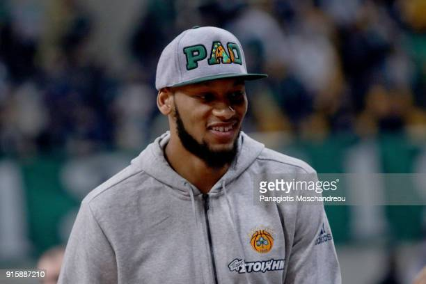 Adreian DeAngleo Payne new transfer of Panathinaikos Athens Superfoods react during the 2017/2018 Turkish Airlines EuroLeague Regular Season Round 22...