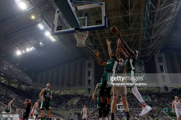 Adreian Payne #6 and Chris Singleton #0 of Panathinaikos Superfoods Athens competes with Tryggvi Snaer Hlinason #51 of Valencia Basket during the...