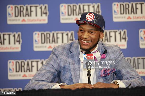 Adreian Payne addresses the media after being selected 15th overall by the Atlanta Hawks during the 2014 NBA Draft on June 26 2014 at the Barclays...