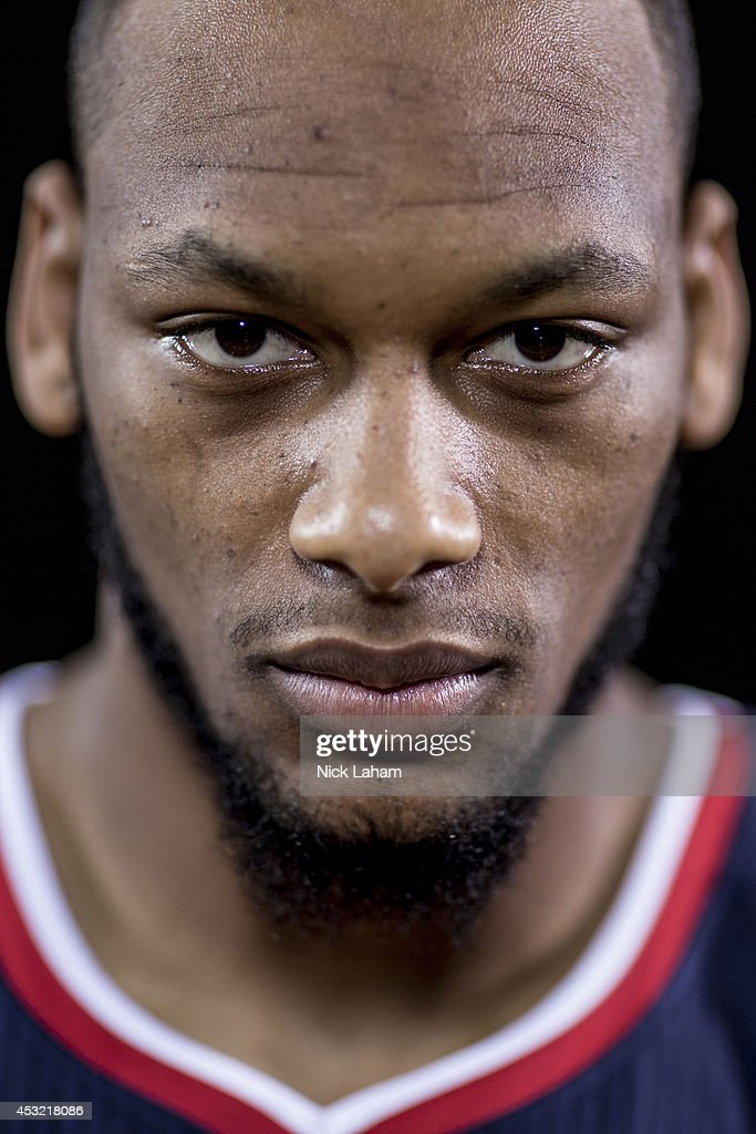 Adreian Payne #33 of the Atlanta Hawks poses for a portrait during the 2014 NBA rookie photo shoot at MSG Training Center on August 3, 2014 in Tarrytown, New York.
