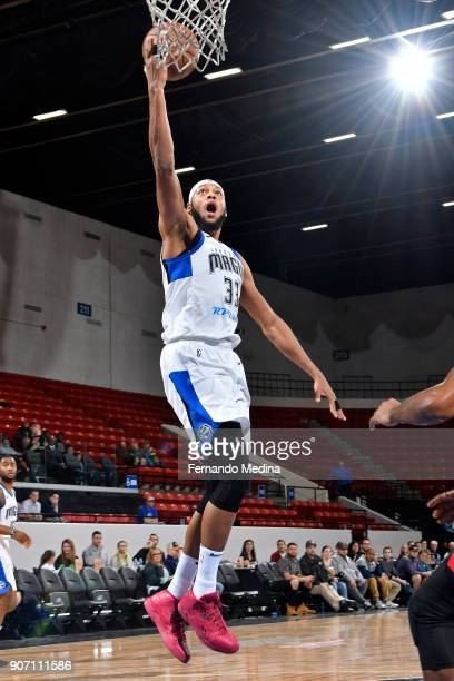 Adreian Payne of the Lakeland Magic drives to the basket against the Erie Bayhawks during the game on January 17 2018 at RP Funding Center in...