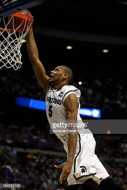 Adreian Payne of the Michigan State Spartans attempts a dunk in the second half against the Valparaiso Crusaders during the second round of the 2013...