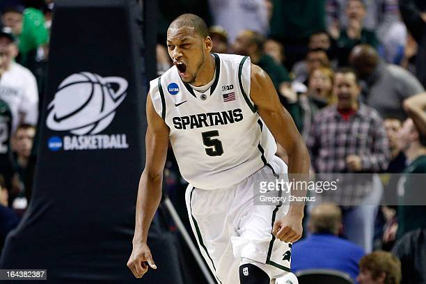 Adreian Payne of the Michigan State Spartans celebrates in the second half against the Memphis Tigers during the third round of the 2013 NCAA Men's...