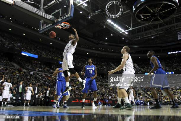Adreian Payne of the Michigan State Spartans dunks in the second half against the Memphis Tigers during the third round of the 2013 NCAA Men's...