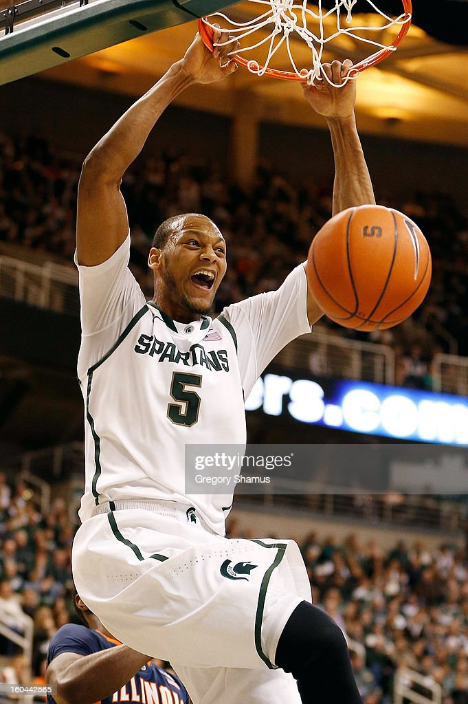 Adreian Payne #5 of the Michigan State Spartans gets in for a first half dunk while playing the Illinois Fighting Illini at the Jack T. Breslin Student Events Center on January 31, 2013 in East Lansing, Michigan.