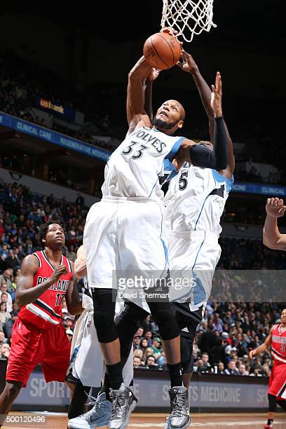 Adreian Payne of the Minnesota Timberwolves goes for the layup against the Portland Trail Blazers during the game on December 5 2015 at Target Center...