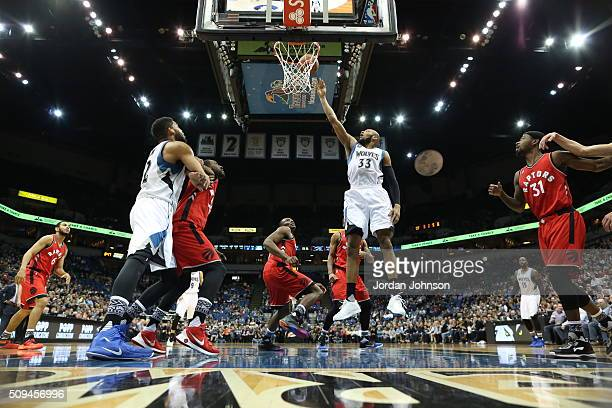 Adreian Payne of the Minnesota Timberwolves goes to the basket against the Toronto Raptors on February 10 2016 at Target Center in Minneapolis...