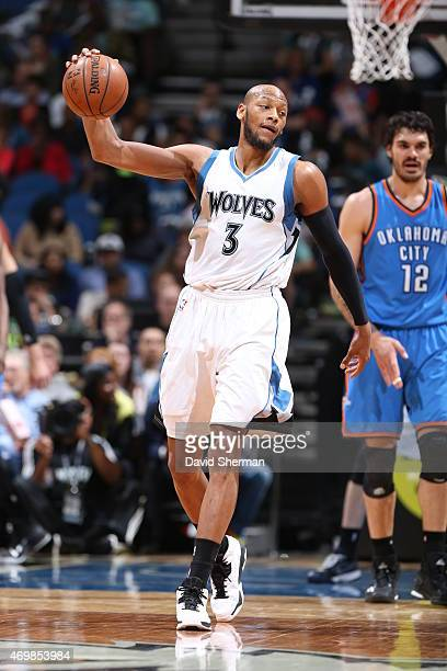Adreian Payne of the Minnesota Timberwolves handles the ball against the Oklahoma City Thunder on April 15 2015 at Target Center in Minneapolis...