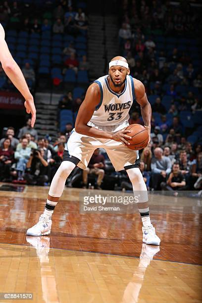 Adreian Payne of the Minnesota Timberwolves handles the ball against the Detroit Pistons during the game on December 9 2016 at Target Center in...