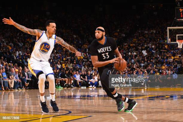 Adreian Payne of the Minnesota Timberwolves handles the ball during a game against the Golden State Warriors on April 4 2017 at ORACLE Arena in...