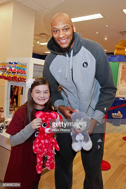 Adreian Payne of the Minnesota Timberwolves in partnership with HopeKids assist children with lifethreatening illnesses create stuffed animals and...