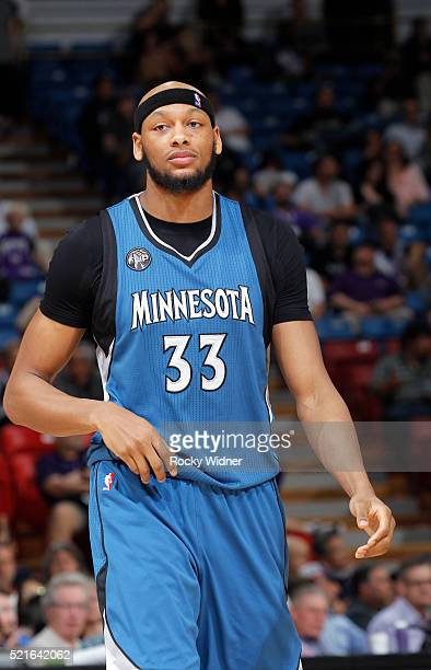 Adreian Payne of the Minnesota Timberwolves looks on during the game against the Sacramento Kings on April 7 2016 at Sleep Train Arena in Sacramento...