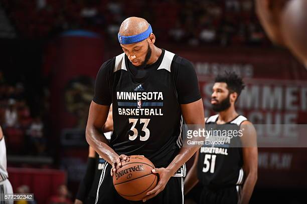 Adreian Payne of the Minnesota Timberwolves prepares to shoot a free throw against the Chicago Bulls during the 2016 NBA Las Vegas Summer League on...