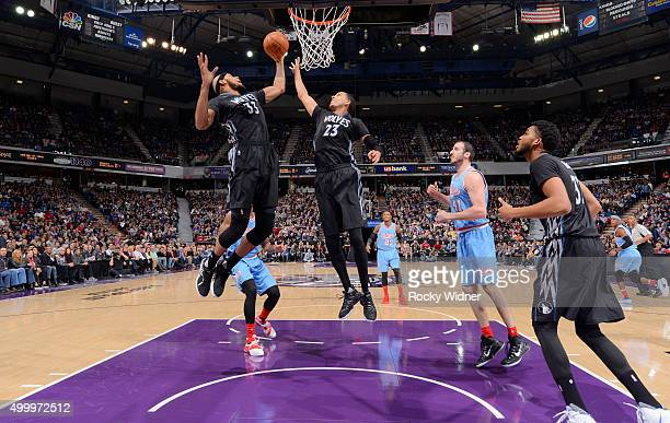 Adreian Payne of the Minnesota Timberwolves rebounds against the Sacramento Kings on November 27 2015 at Sleep Train Arena in Sacramento California...