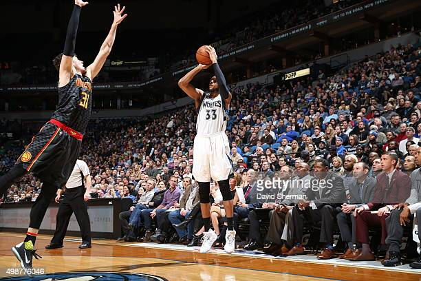 Adreian Payne of the Minnesota Timberwolves shoots the ball against the Atlanta Hawks on November 25 2015 at Target Center in Minneapolis Minnesota...