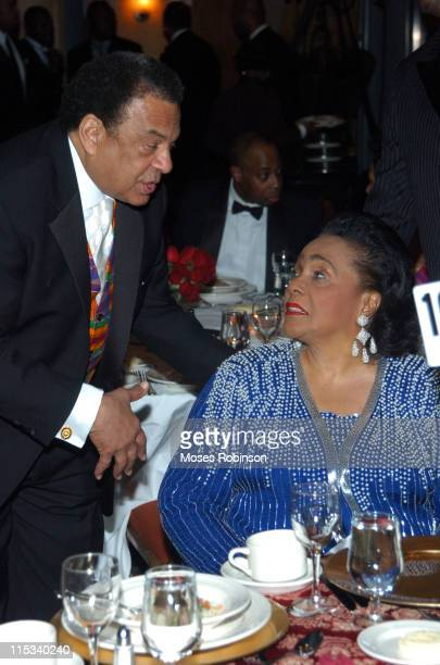 Adrew Young and Corretta Scott King during MoreHouse College Presents A Candle in the Dark 2005 Gala at Hyatt Regency Atlanta in Atlanta Georgia...