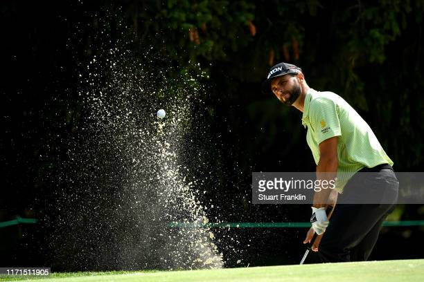 Adri Arnaus of Spain plays a bunker shot on the sixteenth during Day Four of the Omega European Masters at Crans Montana Golf Club on September 01,...