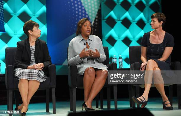 Adria Alpert Romm Rhonda Crichlow and Lee Schroeder speak onstage at WICT Leadership Conference And Touchstones Luncheon at The New York Marriott...