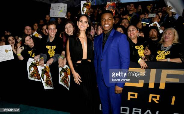 Adria Arjona and John Boyega attend Universal's Pacific Rim Uprising premiere at TCL Chinese Theatre IMAX on March 21 2018 in Hollywood California