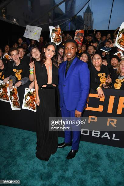 Adria Arjona and John Boyega attend Universal's 'Pacific Rim Uprising' premiere at TCL Chinese Theatre IMAX on March 21 2018 in Hollywood California