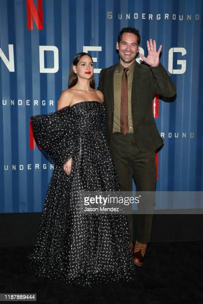 Adria Arjona and Manuel Garcia Rulfo attend Netflix's 6 Underground New York Premiere at The Shed on December 10 2019 in New York City