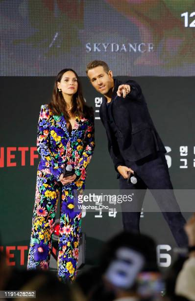 Adria Arjona and Ryan Reynolds attend the world premiere of Netflix's '6 Underground' at Dongdaemun Design Plaza on December 02 2019 in Seoul South...