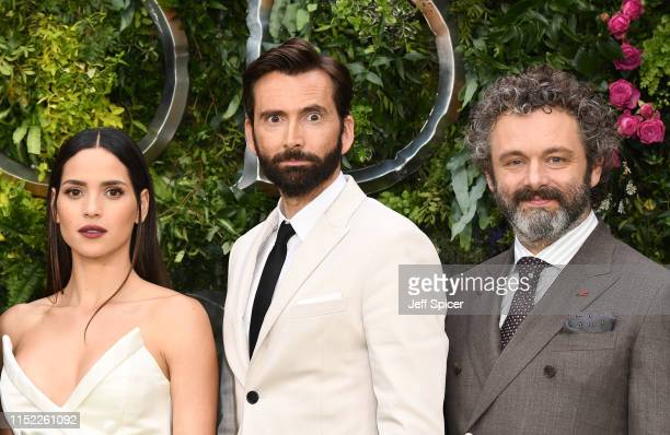 Adria Arjona David Tennant and Michael Sheen attend the Global premiere of Amazon Original Good Omens at Odeon Luxe Leicester Square on May 28 2019...