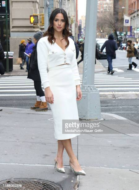 Adria Arjona is seen outside the Build Studio on December 11 2019 in New York City