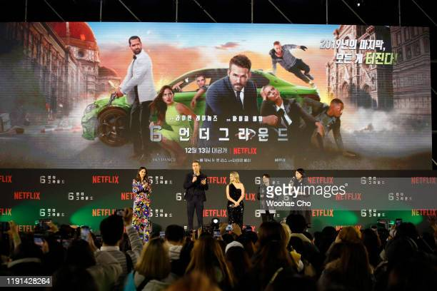Adria Arjona Ryan Reynolds and Mélanie Laurent attend the world premiere of Netflix's '6 Underground' at Dongdaemun Design Plaza on December 02 2019...