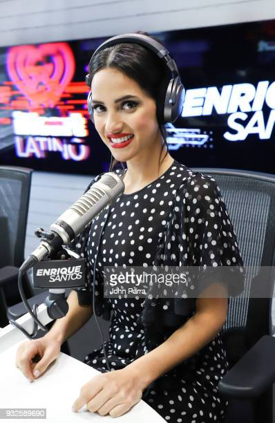Adria Arjona visits The Enrique Santos Show At I Heart Latino Studios on March 15 2018 in Miramar Florida