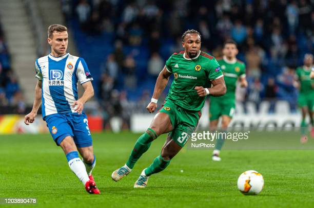 Adria Pedrosa and Adama Traore during the match between RCD Espanyol and Wolverhampton Wanderers FC, corresponding to the second leg of the round of...