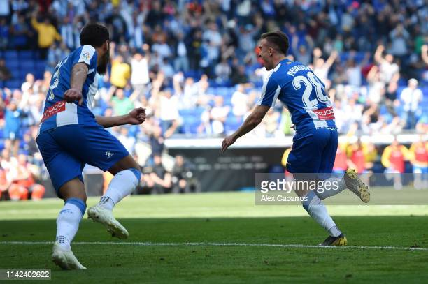 Adria Pedrosa of RCD Espanyol celebrates after scoring his team's first goal during the La Liga match between RCD Espanyol and Deportivo Alaves at...