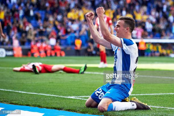 Adria Pedrosa of RCD Espanyol celebrates the opening goal an own goal by Diego Godin of Club Atletico de Madrid during the La Liga match between RCD...