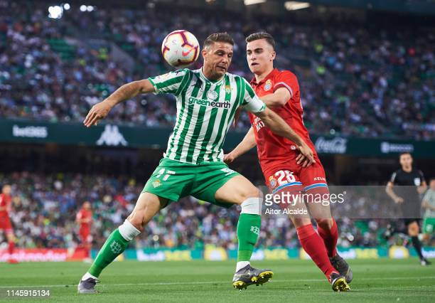 Adria Pedrosa of RCD Espanyol duels for the ball with Joaquin Sanchez of Real Betis Balompie during the La Liga match between Real Betis Balompie and...