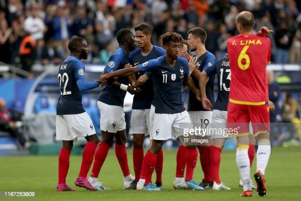 Adria Rodriguez of Andorra and Sergi Moreno of Andorra celebrates after scoring his team's first goal with team mates during UEFA Euro 2020 qualifier...