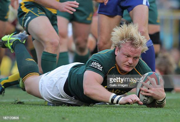 Adriaan Strauss of South Africa dives over for a try during The Rugby Championship match between South Africa and Australia at DHL Newlands on...