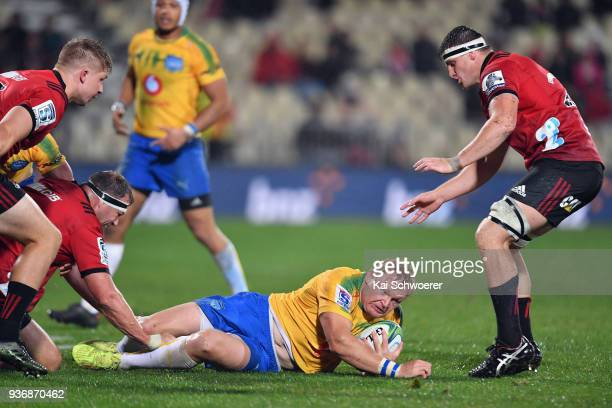 Adriaan Strauss of the Bulls is tackled during the round six Super Rugby match between the Crusaders and the Bulls on March 23 2018 in Christchurch...