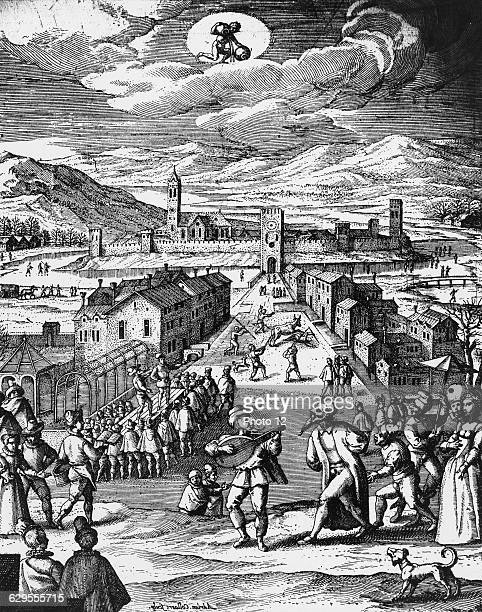 Adriaen CollaertFlemish schoolCityscape with italian commedia dell'arte scene in the foreground and street scenes in the background including another...