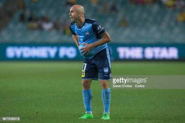 Adriam Mierzejewski of Sydney FC in action during the round 17 ALeague match between Sydney FC and the Central Coast Mariners at Allianz Stadium on...