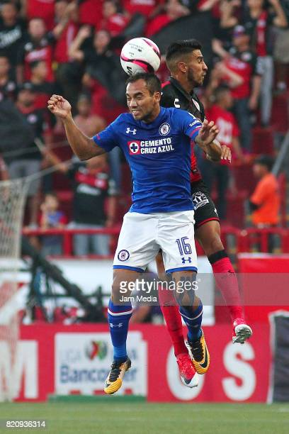 Adrian Aldrete of Cruz Azul and Juan Lucero of Tijuana goes for a header during the 1st round match between Tijuana and Cruz Azul as part of the...