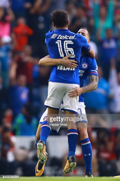 Adrian Aldrete of Cruz Azul celebrates with teammates after scoring the first goal of his team during the seventh round match between Cruz Azul and...
