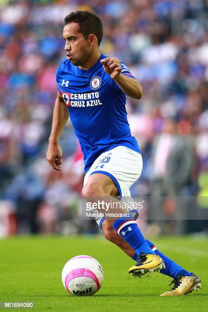 Adrian Aldrete of Cruz Azul drives the ball during the 13th round match between Cruz Azul and America as part of the Torneo Apertura 2017 Liga MX at...