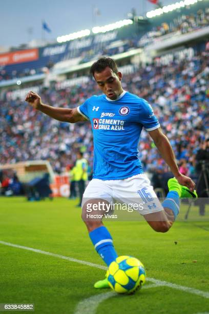 Adrian Aldrete of Cruz Azul drives the ball during the 5th round match between Cruz Azul and Queretaro as part of the Torneo Clausura 2017 Liga MX at...